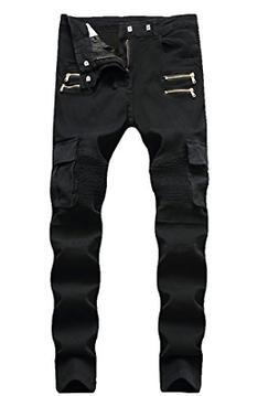 Men's Black Biker Moto Jeans Distressed Skinny Fit Pants wit
