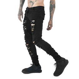 Men's Black Skinny Slim Fit Jeans Distressed Ripped Destroye