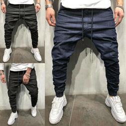 Men's Casual Joggers Denim Pants Designer's Cargo Loose Slim