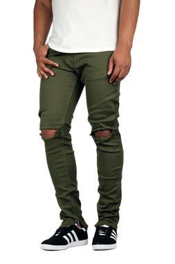 KDNK Men's Destroyed at Knee Ankle Zip Jeans Kayden K