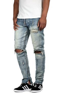 KDNK Men's Destroyed Knee Ankle Zip Jeans Kayden K