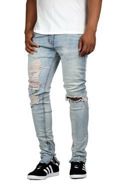 KDNK Men's Destroyed Knee Ripped Ankle Zip Jeans Kayden K