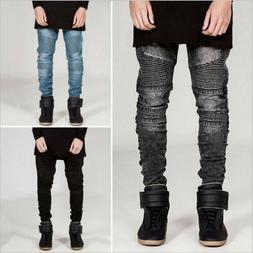 Men's Distressed Straight Denim Pants Jeans Fit Skinny Rippe