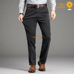 Men`s High Waist Dark Gray Stretch Straight Jeans Casual Bus