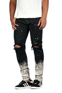 KDNK Men's Paint Distressed Ankle Zip Jeans Kayden K