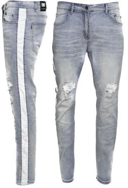 Men's Ripped Jeans Stretch Track Pants Biker Slim Fit Denim