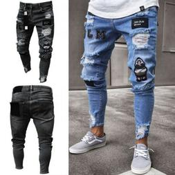 Men's Ripped Jeans Super Skinny Slim Fit Denim Pants Destroy