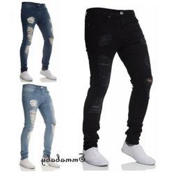 Men's Ripped Skinny Jeans Stretch Frayed Biker Slim Fit Deni