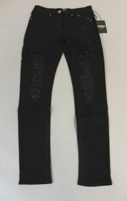 Boohoo Men's Skinny Fit Black Jeans with All Over Rips HD3 B