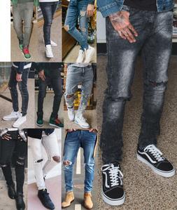 Mens Ripped Jeans Stretch Denim Pants Slim Fit Jeans Black S