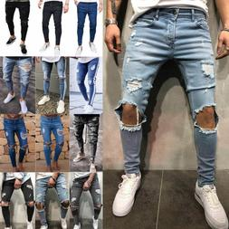 Men's Skinny Jeans Trousers Biker Destroyed Frayed Stretch D