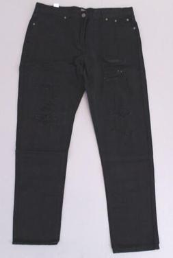 Boohoo Men's Slim Fit Rigid Jeans With Extreme Rips SH3 Blac