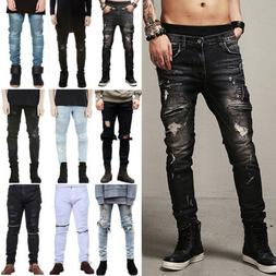 Mens Ripped Skinny Jeans Casual Slim Fit Distressed Denim Lo
