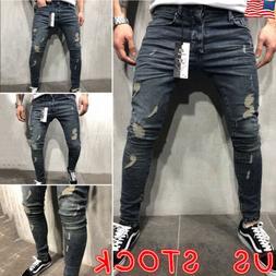 Men's Stretchy Ripped Skinny Biker Jeans Destroyed Taped Sli