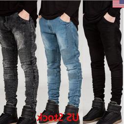 Men's Stretchy Ripped Skinny Biker Jeans Destroyed Taped Sli