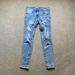 Men Size 30 Hyperdenim Distressed Ankle Zip Skinny Jeans Fea