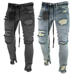 Men Skinny Denim Jeans Distressed Ripped Destroyed Biker Pan