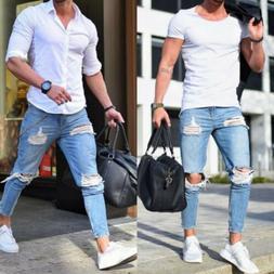 Men Skinny Jeans Trousers Biker Destroyed Frayed Stretch Den