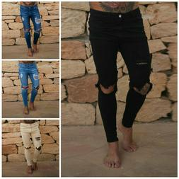 Men Slim Stretch Ripped Skinny Style Biker Jeans Tapered Fit