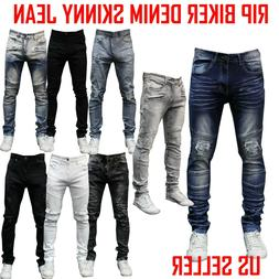 MEN STRETCH RIPPED SKINNY JEAN BIKER JEANS ZIPPER JEAN ACID