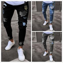 Men Stretch Ripped Skinny Jeans Distressed Frayed Slim Fit B