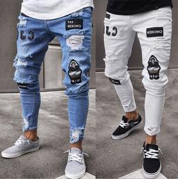 Fashion Men Moto Biker Jeans Straight Skinny Slim Fit Denim