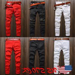 Men Stylish Ripped Jeans Pants Biker Skinny Slim Straight De