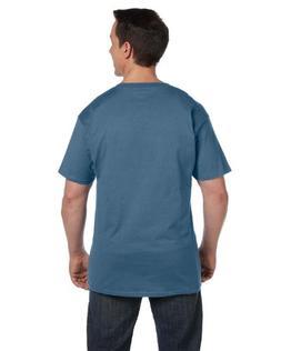Hanes Mens 2 Pack Short Sleeve Pocket Beefy-t, Denim Blue, 3