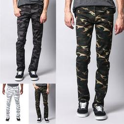 Victorious Mens Army Military Camouflage Skinny Fit Jeans Pa