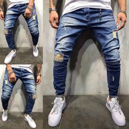 Mens Biker Ripped Skinny Jeans Destroyed Frayed Slim Fit Den