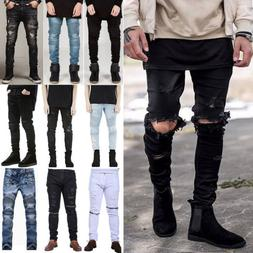 Mens Biker Ripped Skinny Jeans Straight Leisure Frayed Slim