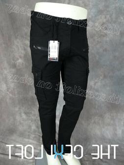 Mens BLEECKER & MERCER MOTO STYLE BIKER CARGO Jeans BLACK TW