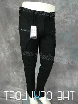 Mens BLEECKER MOTO STYLE BIKER CARGO Jeans BLACK TWILL Zip S