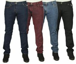 Mens Branded Slim Fit Jeans Plain Black Blue Red Stretch Mat