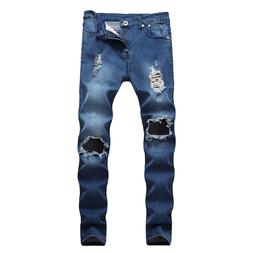 Mens Denim Jeans Distressed Ripped Hole Destroyed Slim Fit S