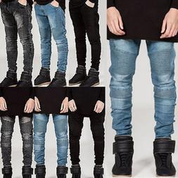 Mens Denim Jeans Pants Slim Fit Straight Leg Skinny Trousers