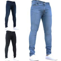 Men's Stretchy Slim Fit Denim Pants Casual Long Solid Trouse