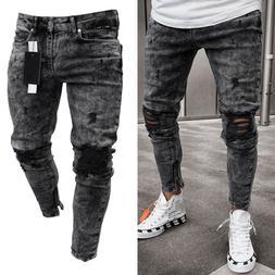 Mens Denim Skinny Ripped Jeans Pants Casual Slim Fit Zipper