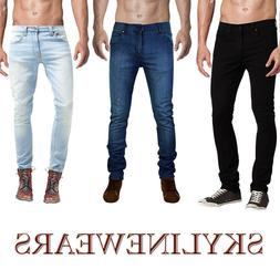 Mens Denim Skinny Slim Fit Stretch Jeans Biker Pants Casual