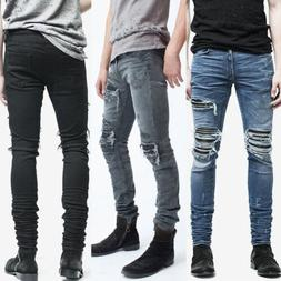 Mens Fashion Slim Fit Ripped Skinny Stretch Biker Zip Jeans