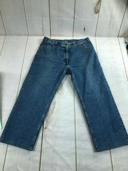 Dockers Premium Mens High Rise Relaxed Fit Cropped Blue Deni