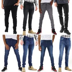 Mens Slim Fit Jeans Super Stretch Denim Pants Slim Skinny Ca