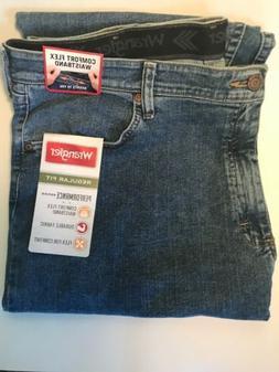 MENS WRANGLER PERFORMANCE SERIES Regular Fit Denim Blue Jean