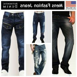 Mens Regular Fit Faded Ripped Jeans Straight Leg Distressed