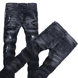 Mens Ripped Biker Jeans Slim Fit Motorcycle Jeans Distressed
