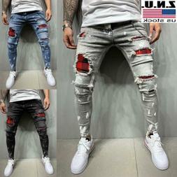 Mens Ripped Distressed Skinny Denim Jeans Super Skinny Slim