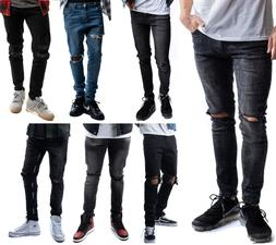 mens ripped skinny jeans stretch denim pants