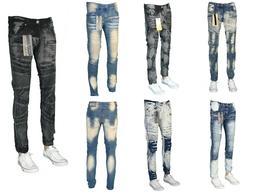 Mens Skinny Fit Ripped Jeans Stretch Biker Distressed Denim