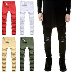 Mens Skinny Stretch Ripped Denim Jeans Pants Casual Slim Fit