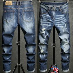 Mens Skinny Stretch Ripped Jeans Slim Fit Flex Denim Trouser